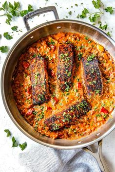 Blackened Salmon with a flavorful crispy crust smothered in creamy Cajun Sauce on your table in less than 30 minutes! Salmon Recipe Cast Iron, Salmon Recipe Pan, Seared Salmon Recipes, Salmon Sauce, Healthy Salmon Cakes, Healthy Salmon Recipes, Healthy Food, Clean Eating Salmon, Blackened Salmon