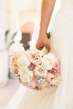 Juliet garden roses, ivory roses, blush pink roses w/ bouquet jewelry