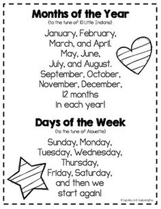 These songs can be used to help teach calendar content to students. Often songs with catchy tunes will help students to remember the content better and easier. Often songs like these can be recalled into adulthood. Kindergarten Songs, Preschool Music, Preschool Curriculum, Preschool Lessons, Preschool Classroom, Preschool Activities, Color Songs Preschool, Montessori Elementary, Circle Time Ideas For Preschool