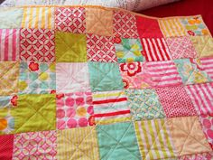 Handmade patchwork baby Quilt for pram by SunflowerQuiltsbrigh