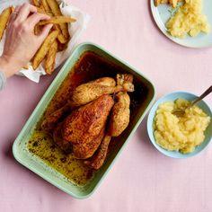 Gebraden kip met appelmoes en frietjes