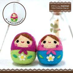 Kawaii Japan Craft Needle Felting Kit : Roly Poly Egg Shaped Russian Dolls