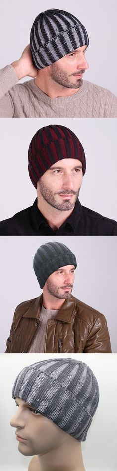 Hip How Beanies and Skullies Double Vertical Striped Wool Cap Men and Women Ski Hats Winter Fashion Warm Caps Knitted $5.19