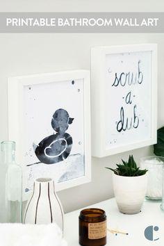 Print These! Pictures For Bathroom Walls, Bathroom Artwork, Kid Bathroom Decor, Bathroom Tile Designs, Modern Bathroom Design, Bathroom Ideas, Bathroom Pictures, Bathroom Inspiration, Master Bathroom