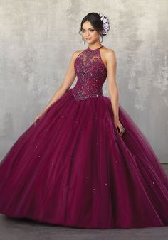 Beaded Halter Quinceanera Dress by Mori Lee Valencia 60038