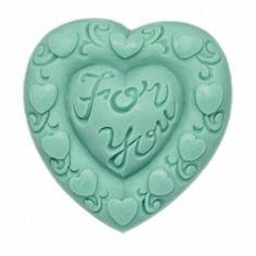Molde pastilla jabón Corazón For You, molde de silicona para hacer jabones de San Valentín, también para manualidades de escayola, resina, yeso, etc.