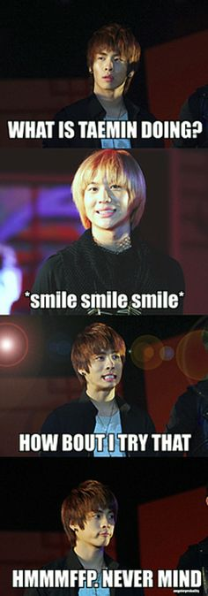 XD No one is as cute as smiling as Taemin...JongHyun really looks like a dino in the second to last picture