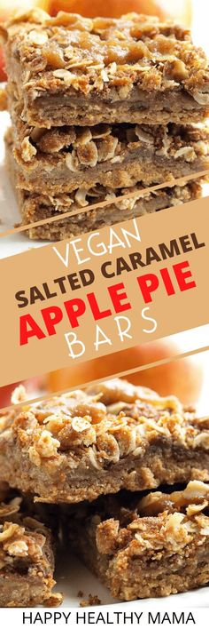 These Vegan Salted Caramel Apple Pie Bars are SO easy and such a delicious healthy dessert! These are a fabulous fall dessert that's great for Thanksgiving too! Vegan Lunch Recipes, Healthy Cookie Recipes, Best Vegan Recipes, Peanut Butter Recipes, Healthy Cookies, Vegan Breakfast Recipes, Healthy Desserts, Delicious Desserts, Snack Recipes