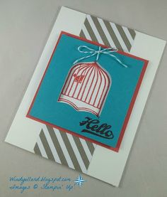 Windy's Wonderful Creations: Hello Bird In Cage!, Stampin' Up!, Jars of Love, Badges & Banners, Best Badge punch