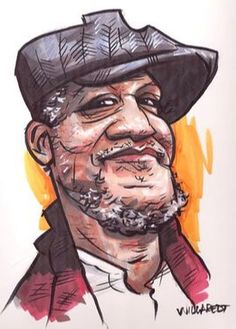 Cool Artwork of Fred Sanford the star of the  classic TV series Sanford and Son. Actor Redd Foxx