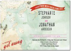 Map And Ribbon Wedding Invitation Cards HPI059