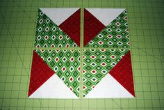 Ryan Walsh Holiday Ribbon Block - Makes a nice ribbon border or double chevron row quilt. Made with 3 different colored squares and half square triangles. A lot easier than it looks.