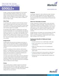 Google Plus Tips for the Social Marketer Cheat Sheet