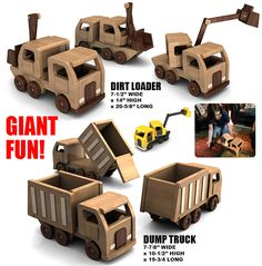 Buy the Easy Build GIANT Dump Truck + Dirt Loader wood toy plan set for One Low Price!