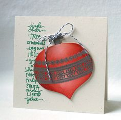 Stamped Ornament Christmas Card - could use baking twine for the bow