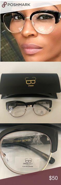 840f86780 NWOT Cynthia Bailey Eyewear NWOT Cynthia Bailey Eyewear Black top and gold  Clear frames +2.50 magnifier can change out if you like Retail $100 Cynthia  ...