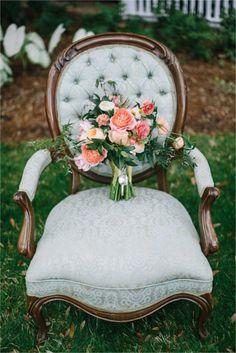 Just love this bright bouquet against that gorgeous vintage blue chair!