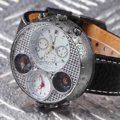 Dieselpunk: watch - OULM White Dial Dual Time Zone Date