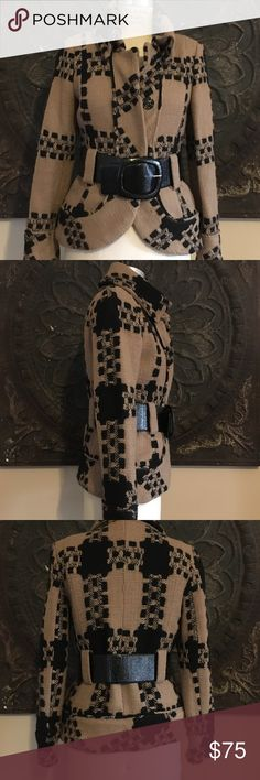 Beautiful, Classic, wool, tweed jacket. Black and beige 100% wool, tweed jacket. Black metal buttons with wide textured, patent leather black belt. Fully lined, made in Morocco. Zara Jackets & Coats Blazers