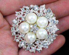 Vintage Brooch Faux Pearl BroochWedding by RhinestoneBridalTime, $3.99