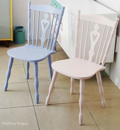 Old chairs painted by Annie Sloan Chalk Paint Louis Blue and Antoinette