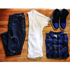 Royal blue outfit grid.