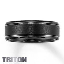 Kay Jewelers Triton Black Tungsten Carbide Band for Him. Textured black tungsten carbide center with engraving and beveled edges to complement. 8mm in width, Supreme-Fit for wearing comfort. Where art meets engineering. $299.99