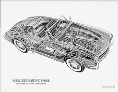 """I'm a big fan of """"cutaway"""" technical drawings, and this is of one my favorite Mercedes.  It's a reproduction from an original by famed cutaway artist Shin Yoshikawa."""