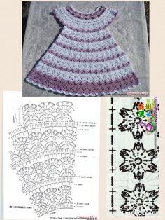 Baby Crochet Patterns Part 33 - Beautiful Crochet Patterns and Knitting Patterns Crochet Toddler Dress, Crochet Baby Dress Pattern, Crochet Fabric, Crochet Motifs, Baby Girl Crochet, Crochet Baby Clothes, Crochet Diagram, Crochet For Kids, Tunic Pattern