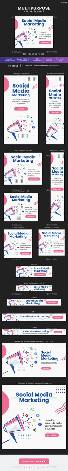 Buy Multipurpose Web Banner Set by Kimp_io on GraphicRiver. Promote your Products and services with this great looking Banner Set. Facebook Ad Size, Website Promotion, Banner Template, Goods And Services, Business Design, The Help, Ads, Templates, Marketing