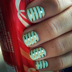 Mint & gold Jamberry nail wraps  http://saramcgrath.jamberrynails.net/product/mint-green--gold-horizontal-pinstripe