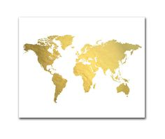 World Map Print Gold Foil World Map Chalkboard Background