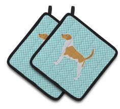 American Foxhound Checkerboard Blue Pair of Pot Holders BB3698PTHD