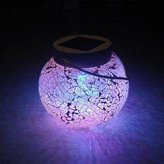 Zonne 7 kleur veranderende mozaïekglas 3 led lampjes