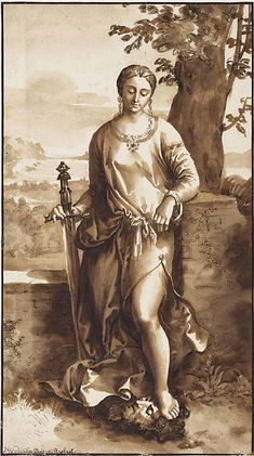Jan de Bisschop (1628–1671) After Giorgione (1477–1510) Judith with the Head of Holophernes, 17th century, drawing pen and brown ink with brown wash on chalk Dimensions 34.8 × 19.5 cm