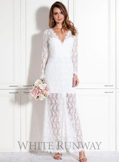 Luchia Dress. A stunning full length dress by Samantha Rose. A lace style featuring a v-neckline, long sleeves and front centre split.