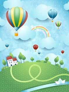 Pink Glitter Background, Kids Background, Cartoon Background, Fantasy Posters, Diy Hot Air Balloons, Rainbow Wallpaper, Wall Drawing, Balloon Wall, Graduation Pictures