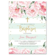Beautiful blush pink peony blooms with gold glitter confetti dots and modern brush lettering calligraphy. It's A Girl baby shower invitations Oh Baby invitation Hens Party Invitations, Bachelorette Party Invitations, Baptism Invitations, Pink Invitations, Bridal Shower Invitations, Invitation Paper, Printable Baby Shower Invitations, Invitation Ideas, Party Favors