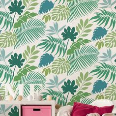 6-Tropical-Leaf-stencil-wallpaper-jungle-foliage-pattern