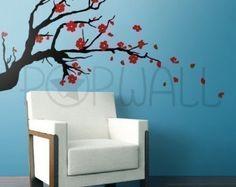 Abnehmbare Chinoiserie Blühender Zweig mit exotischen Vögel