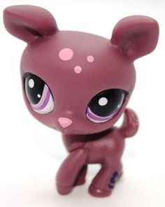Littlest Pet Shop LPS Retired Rare Deer Burgundy Spotted Purple Eyes #2186