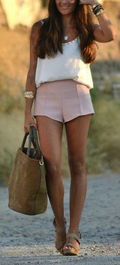 White Tank + Pink Shorts