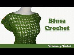 Blusa calada con botones decorativos tejida a crochet (ganchillo) - Parte 2 de 2 - YouTube Crochet Blouse, Crochet Top, Men Sweater, Sweaters For Women, Busa, Summer Patterns, Crochet Stitches, Tunic Tops, Mac