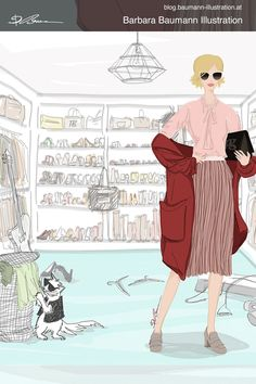 DIgital fashion illustration of a young woman with pink sunglasses and red rose spring summer outfit style beside a stylish cat wearing a black jacket and dark glasses. both are in a dressing room full of high heels, boots and slipper / loafer as it is an illustrative branding for a shoe manufacturer done digitally on the pad with a separate layer for the draft after a rough and simple sketch on the sketchbook paper to find creative ideas for the figure #drawing with a furry cute animal Paul Green, Summer Fashion Outfits, Fall Outfits, Illustrator, Fashion Sketches, Fashion Illustrations, Shoe Manufacturers, Illustration Mode, Pink Sunglasses