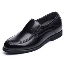 2016 spring slip on height increasing formal shoes add taller 6.5cm / 2.56inch black dress shoes