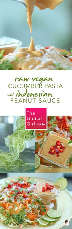 Raw vegan cucumber Noodles with creamy Indonesian peanut sauce. A healthy gluten-free pasta recipe that's totally wheat free, oil free and super tasty. #kombuchaguru #rawfood Also check out: http://kombuchaguru.com