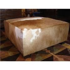 hair on hide square ottoman