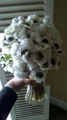 Floral cotton and anemone bouquet.