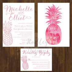 Pineapple Wedding Invitation Tropical by HadleyCustomDesigns