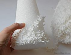 Styrofoam Cone Decorating Idea - Christmas Con Tree Decorating Idea - Make Snow Covered Christmas Trees With Textured White Yard And Some Ribbon And Beads Its Super Easy And Takes About 15 Minutes Frugal Christmas, Christmas Tree Crafts, Christmas Projects, Handmade Christmas, Christmas Ornaments, Christmas Mantles, Christmas Villages, Victorian Christmas, Christmas Christmas